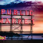 Pike Place Market Neon Sunset