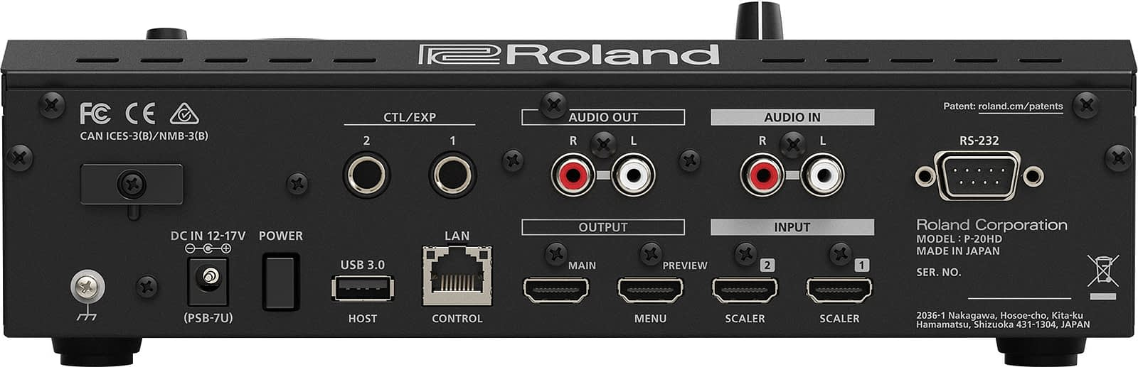 Roland P-20HD Rear Connections
