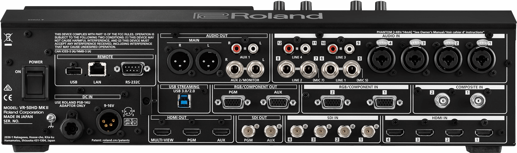Roland VR-50HD MK II Rear Connections