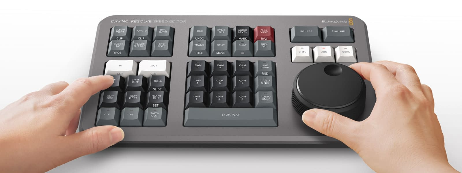 DaVinci Speed Editor Keyboard with Hands