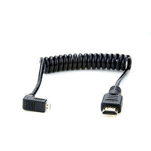 Coiled Right-Angle Micro to Full HDMI Cable
